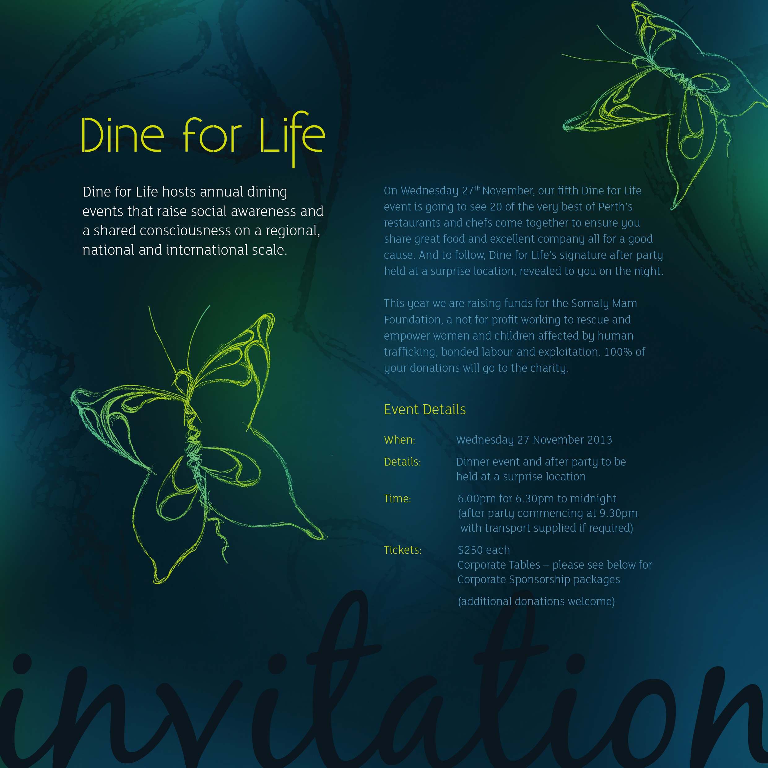 Dine For Life Dinner invitation Perth